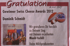 Dominik Schmidt, Gratulation Swiss Cheese Award 4.10.2012