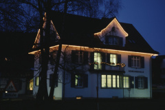 Gemeindehaus by night at Christmastime