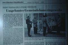 Renovation Gemeindehaus, Einweihung am 25.11.1995, Zeitungsbericht