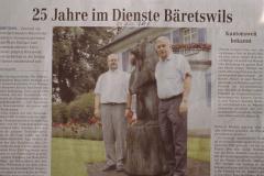 ,25 Jahre im Dienste Bäretswils' GdePräsident H.P.Hulliger, GdeSchreiber F.Wanner