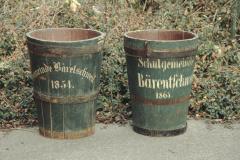 Feuerwehr Löscheimer ,Gemeinde Bäretschweil 1854' und .Schulgemeinde Bärentschweil 1863'