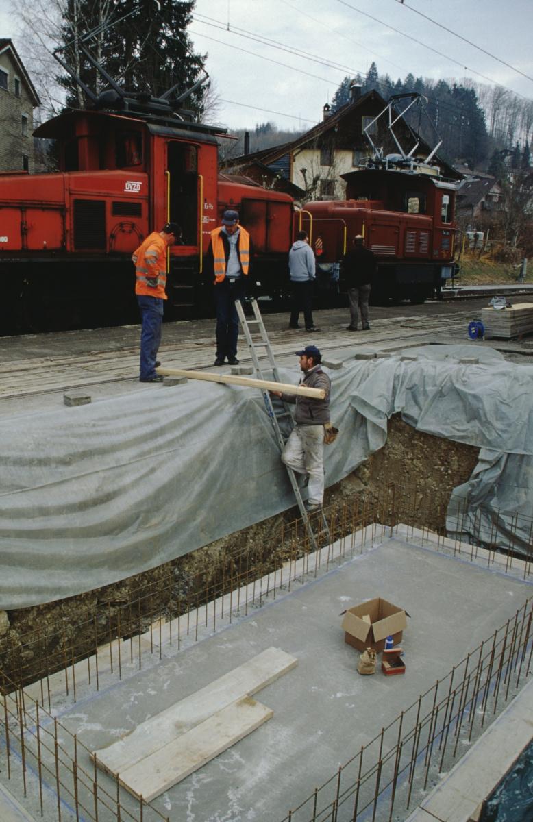 Dampfbahn Verein, betonierte Bodenplatte für Stellwerk