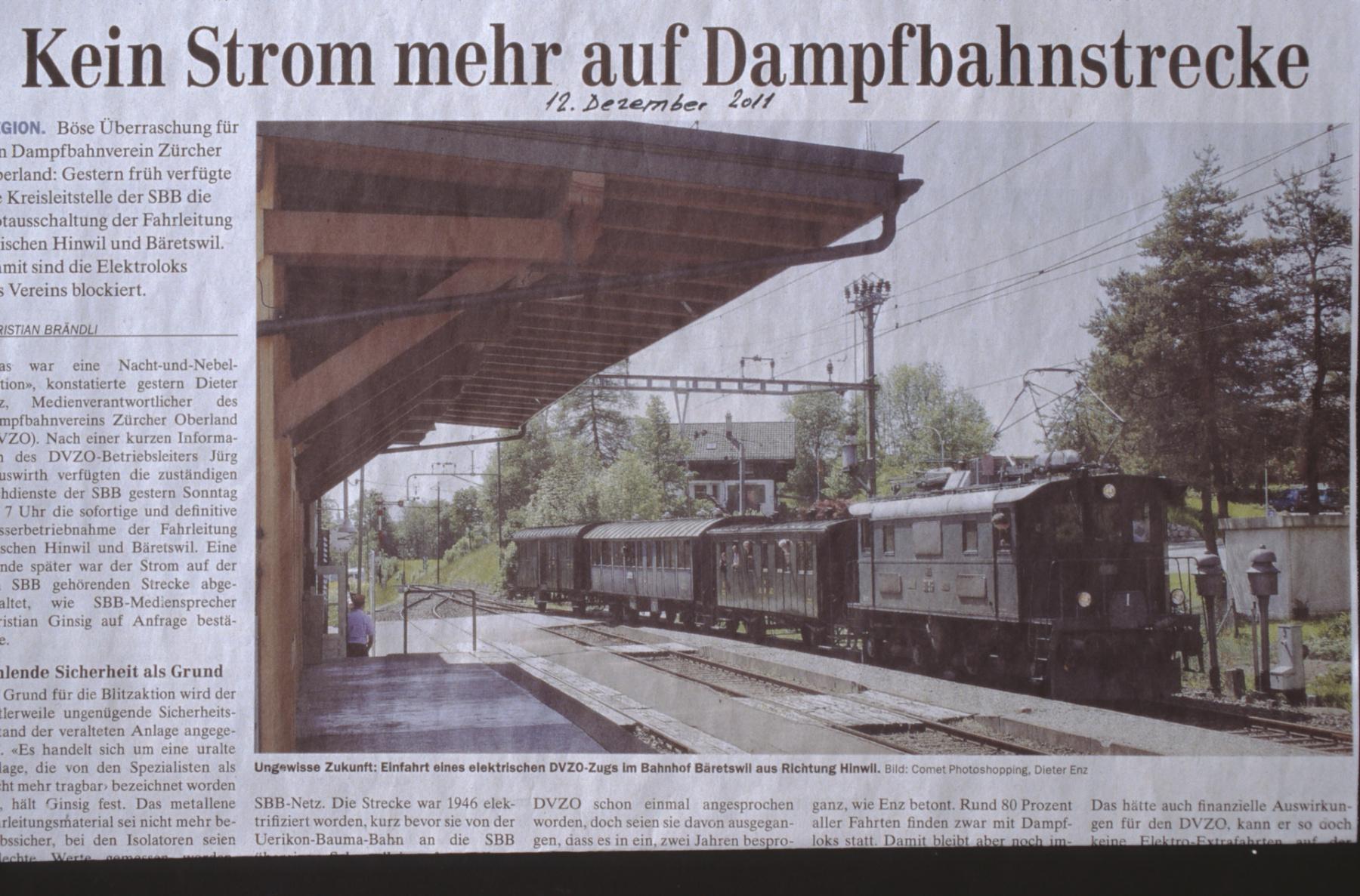 Kein Strom mehr auf Dampfbahnstrecke