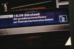 Wahl Gerhard Fischer zum Kantonsratspräsident, Willkommensgruss Bahnhof Wetzikon