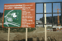 Schulhaus Letten, Baureklame