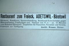 Inserat Restaurant Zum Freieck, Adetswil