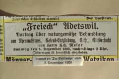 Restaurant Freieck, Adetswil, Vortrag über naturgemässe Behandlung