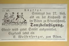 Gasthof Bären, Inserat im ,Der Allmann', Tanzbelustigung