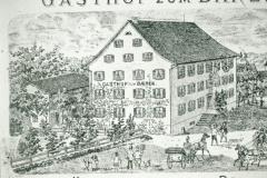 Gasthof zum Bären, Zeichnung mit Kutschen 1895