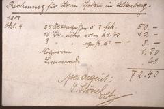 Gasthof Bären, Rechnung für Herrn Spörri, Allenberg