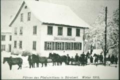 Führen des Pferdeschlittens, Rest. Freihof, Bäckerei und Speisewirtschaft zum Freihof