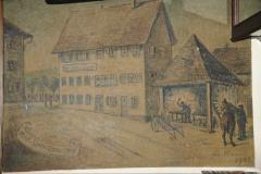 Restaurant Linde, Gemälde aus der ,alten' Linde, zeigt Linde mit Schmiede 1900