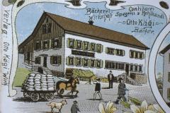 Ansichtskarte Bettswil, Wirtschaft, Spezerei und Mehlhandel, Otto Kägi, Bäcker (in Mittelbettswil, Bäckerei brennt 1911 ab)