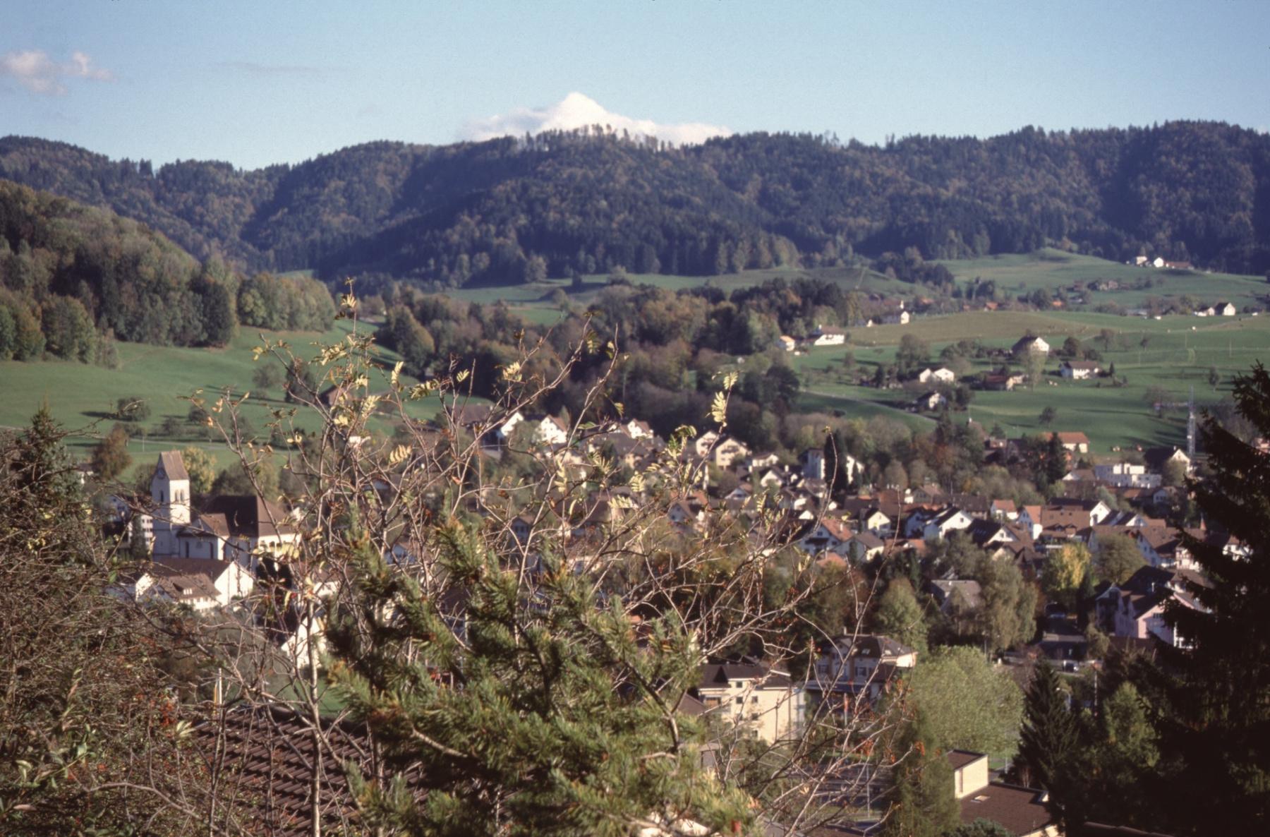 Blick von der Engelsteinstr (neben Haus Dietschi, Glärnischstr.23) auf das Dorf Rtg Wappenswil