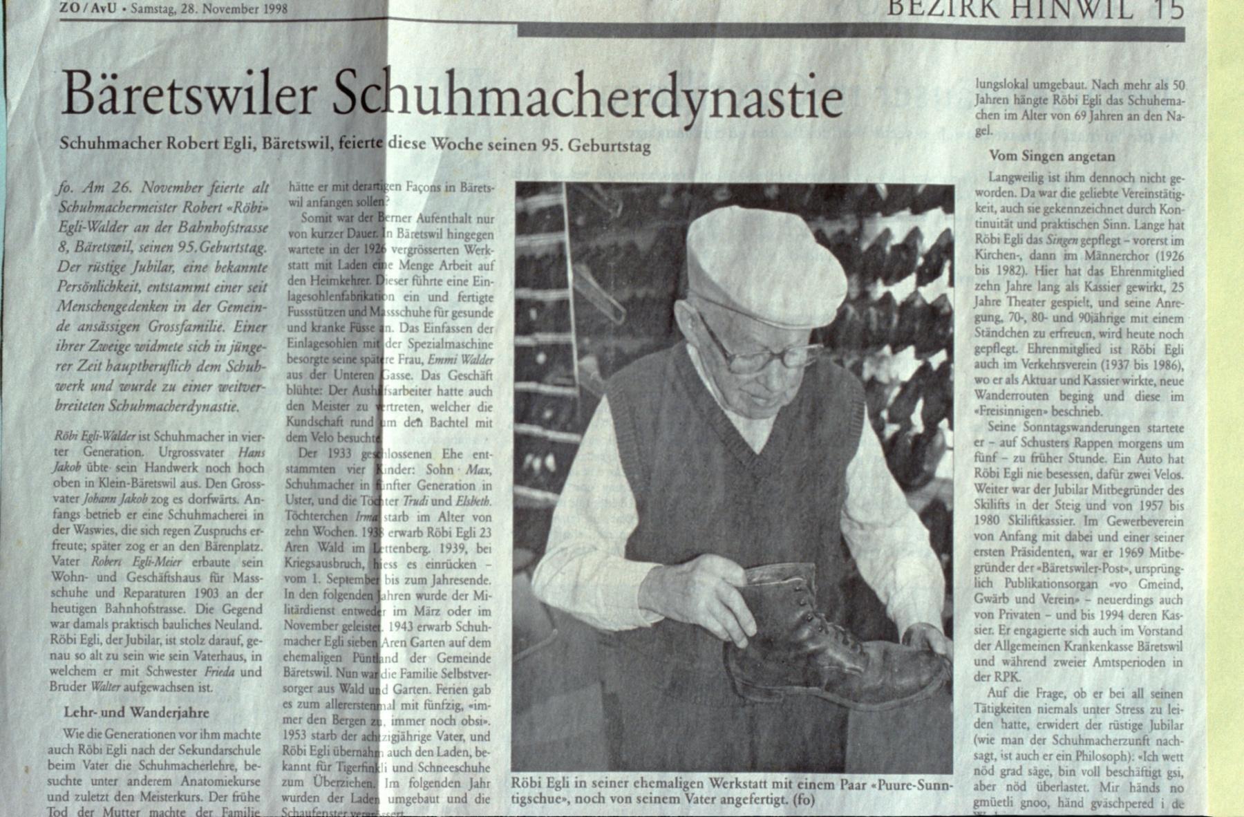 Bäretswiler Schuhmacherdynastie
