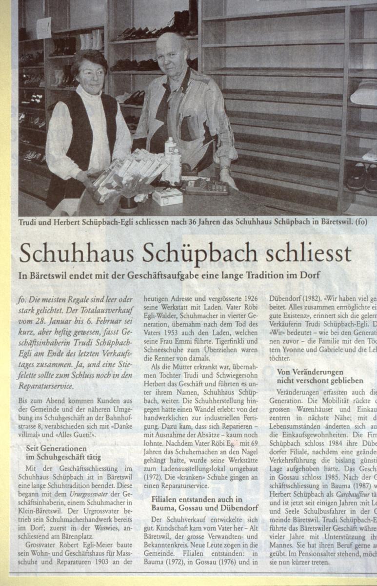 Bahnhofstr, Schuhaus Schüpbach schliesst
