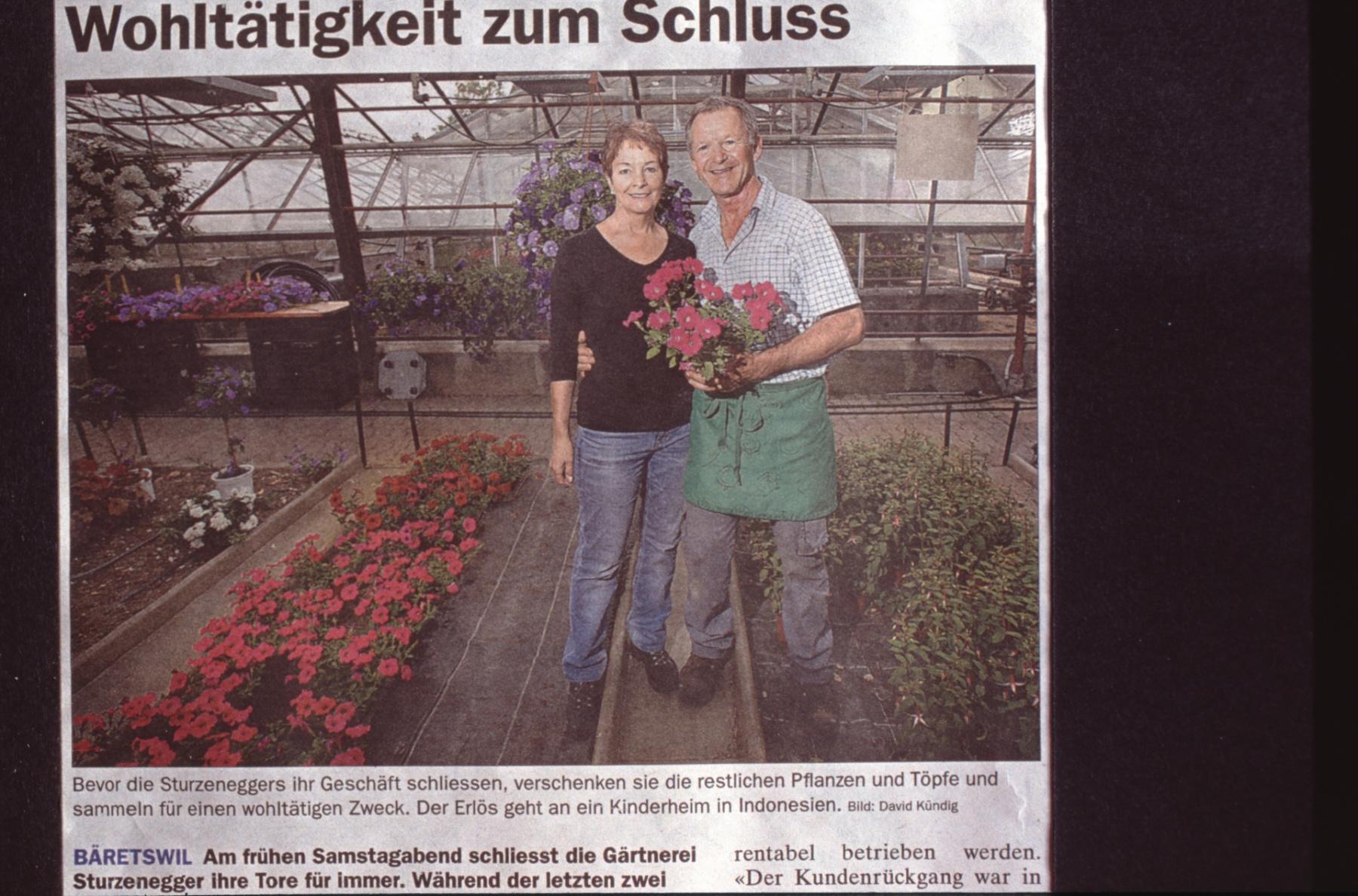 Gärtnerei Sturzenegger Wohltätigkeit zum Schluss