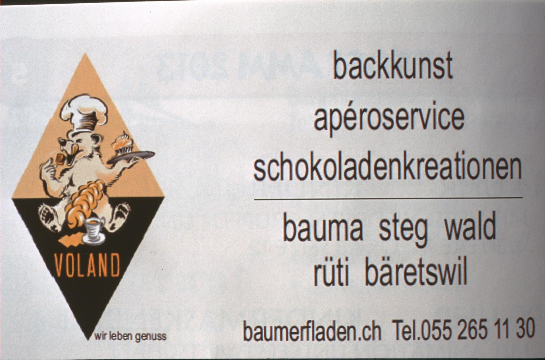 Café Bäckerei Konditorei Voland, Broschüre Fassnacht Bäretswil