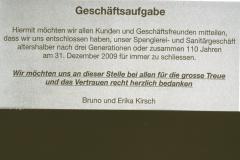 Bäri-Post, Geschäftsaufgabe Spenglerei Kirsch