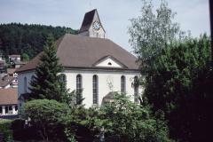 Ref. Kirche vom Schulhaus aus