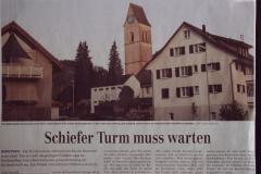 Ref. Kirche schiefer Turm muss warten