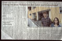 Einzug ins neue Wohnheim 3 Jahre nach Grossbrand