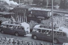 UeBB. Alt und neu begegnen sich. Dampftriebwagen UeBB und zwei Alfa-Romeo Busse der VZO in Uerikon