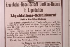 UeBB. Liquidation letzter Aufruf zur anmeldung von Guthaben (Zürichsee Zeitung)