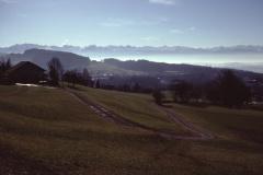 Hof Siegenthaler. Blick in die Alpen