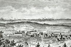 Blick auf Bäretswil (Studer Chronik) vom Gryffenberg, nach 1858 (Die Spörri Fabrik wurde 1858 gebaut)
