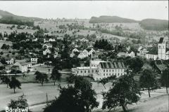 Dorf mit Kirche + Hico vom Lettenberg aus (Bild nach 1929, mit Doktorhaus 1929)