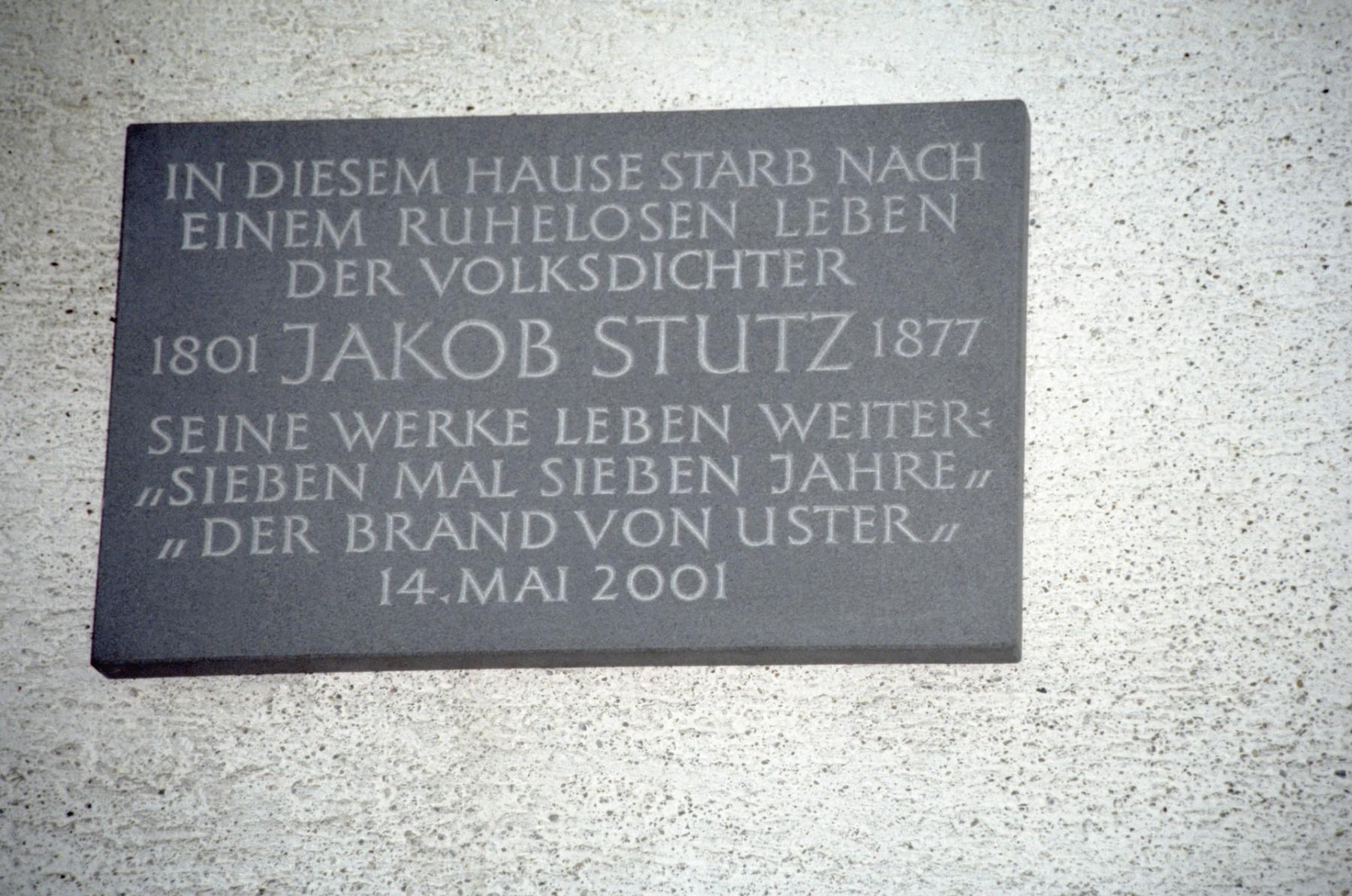 Haus Walder, Gedenktafel für Jakob Stutz