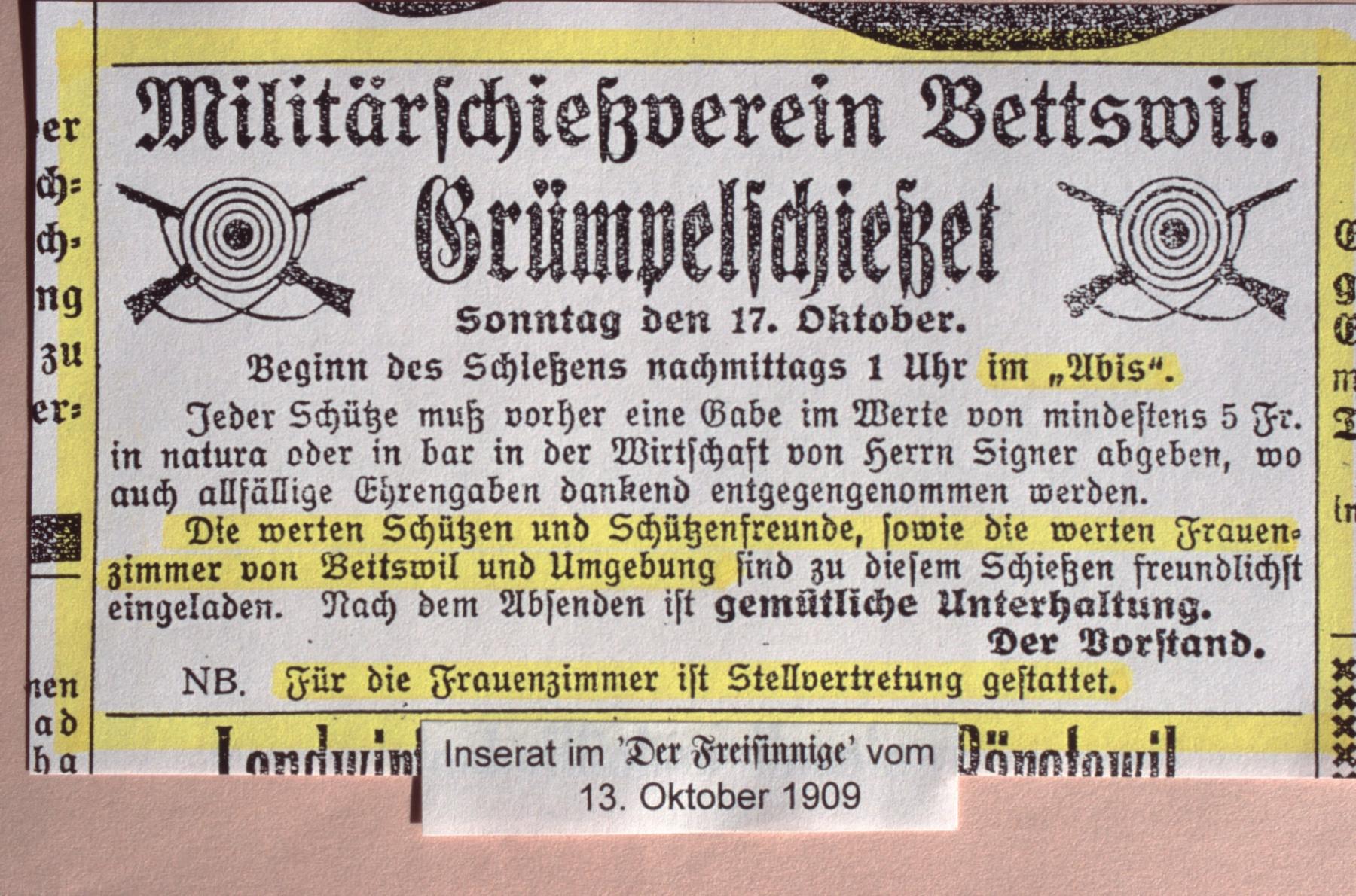 Militärschiessverein Bettswil, Inserat ,Grümpelschiesset im Abis'