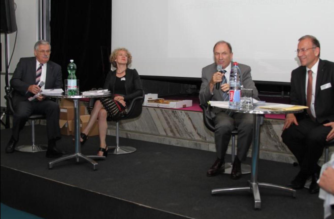 H-P Hulliger,  GV GPV-ZH 2014, Podiumsdiskussion, vl  Hans-Peter Hulliger, Corine Mauch, Martin Graf, Hannes Germann