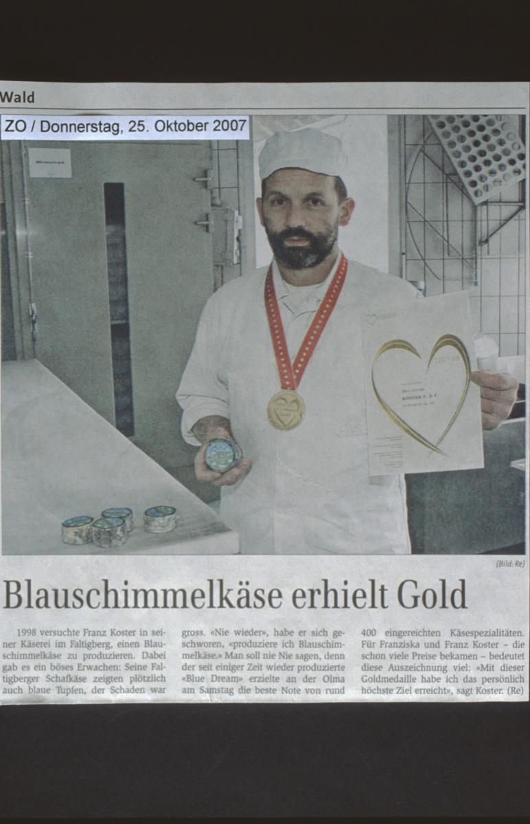 ZO. Blauschimmel erhielt Gold, Franz Koster