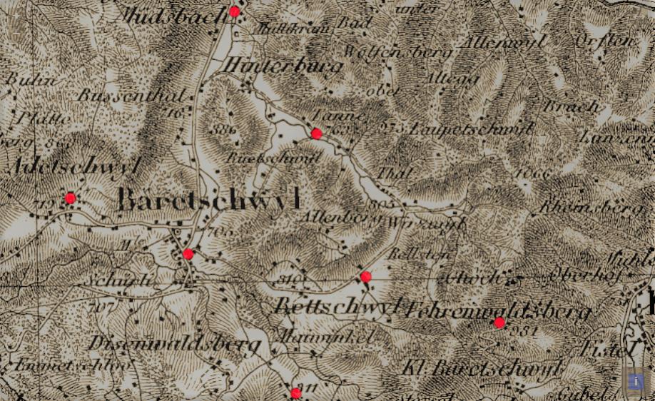Karte mit den Schulhäusern von 1799 in Bäretswil und den Aussenwachten Adetswil, Wappenswil, Bettswil, Fehrenwaltsberg, Tanne und Müdsbach.