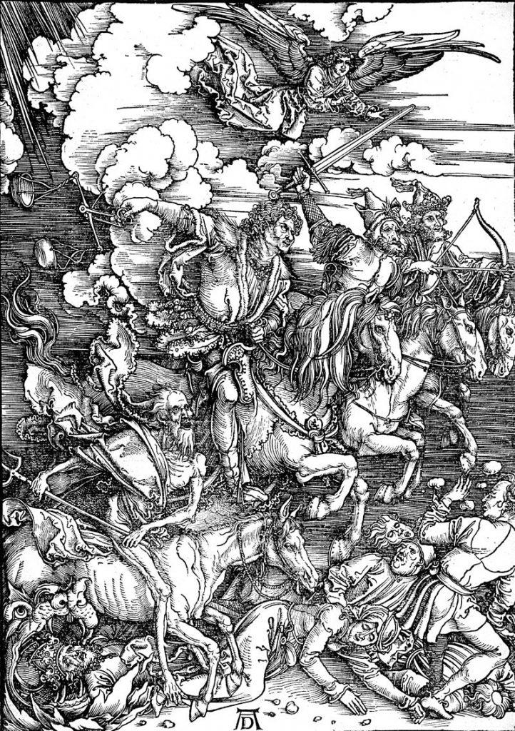 Die vier apokalyptischen Reiter im 6. Kapitel der Offenbarung des Johannes wurde in einem der berühmtesten Bilder von Dürer 1498 erschaffen.