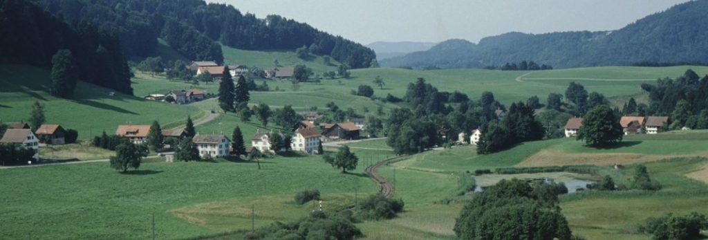 Hof-Neuthal mit UeBB Geleise, links Schulhaus und Rest. Greifenberg, rechts Bahnhof und Mülichram, 1990
