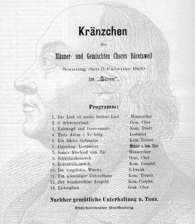 Plakat zum Kränzchen der Chöre Bäretswil anlässlich des 150. Todestages des Sängervaters Hans Georg Nägeli