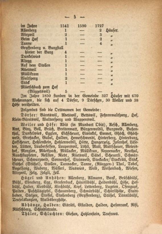 Seite 3 aus der Studer Chronik mit den Ortsnamen der Dörfer, Weiler und Höfe von Bäretswil.