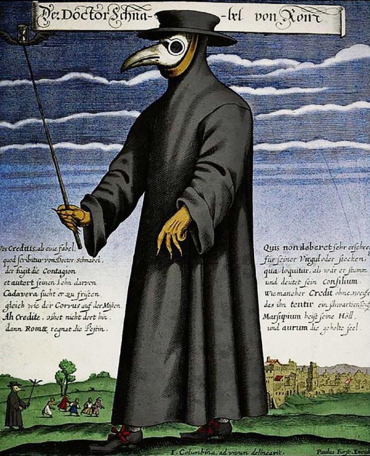 Der Pestdoktor, der zum Schutz eine Schnabelmaske trug, nicht ganz unähnlich dem aktuellen Schutz gegen den Corona Virus.