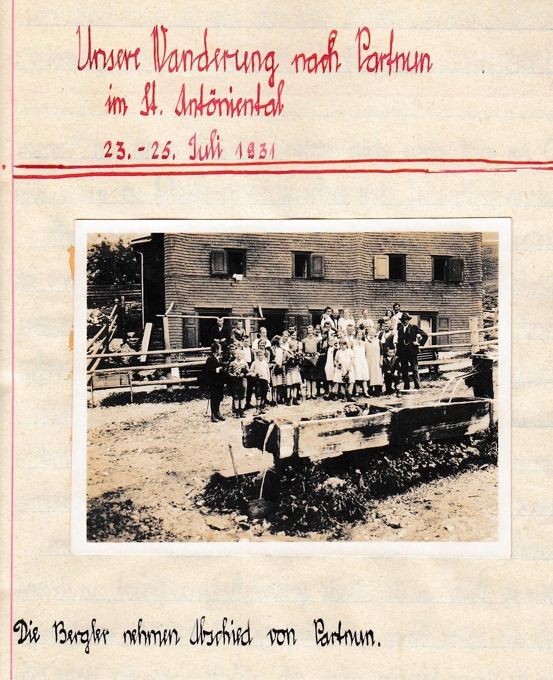Bericht von der Wanderung der Schule Berg nach Partun von 1931.