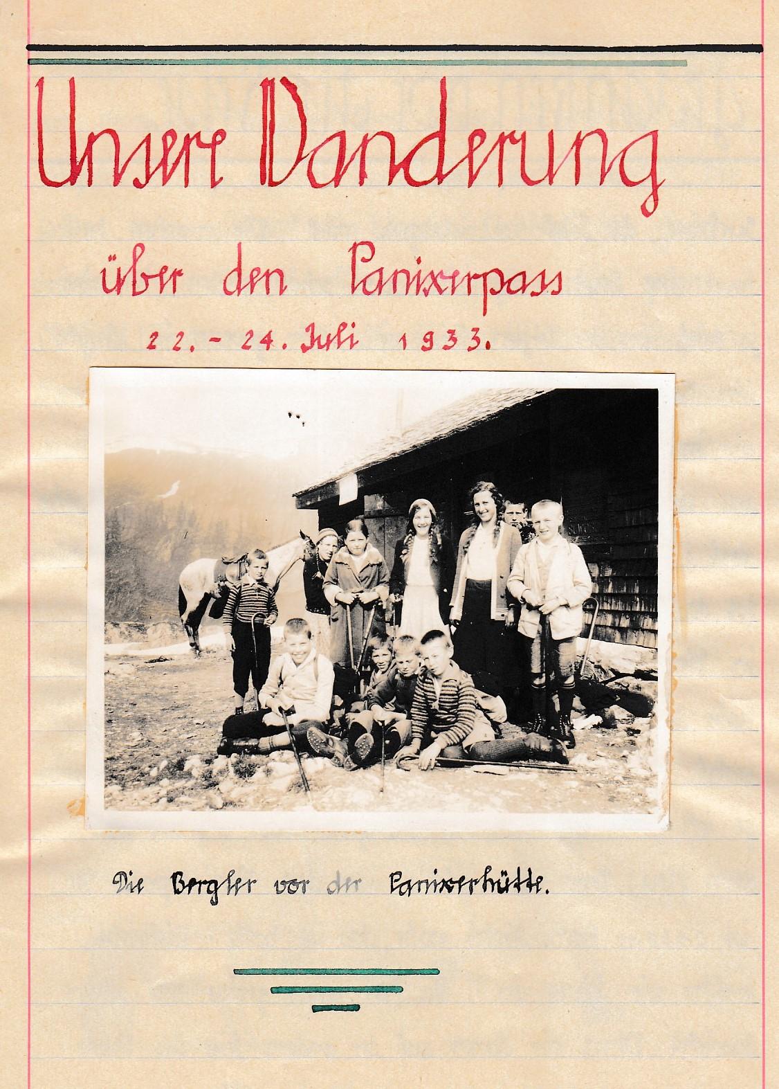Bericht von der Wanderung der Schule Berg über den Panixerpass von 1933.