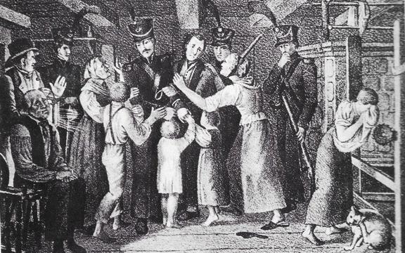 Illustration zum Theaterstück Der Brand von Uster von Jakob Stutz.