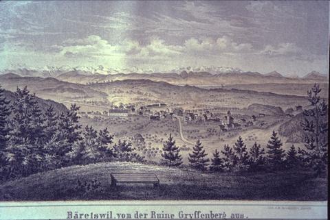 Bäretswil, von der Ruine Gryffenberg aus. Stich aus der Studer Chronik von 1870.