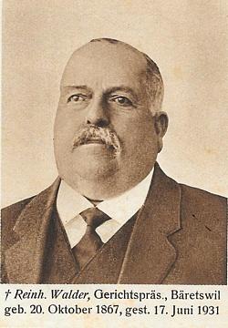 Portrait von Reinhold Walder (1867-1931), ehemaliger Gemeindepräsident von Bäretswil.